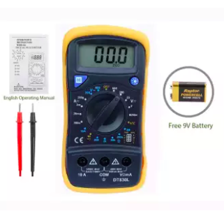 Digital Multimeter and Tester with LCD Backlight Display Model DT830L