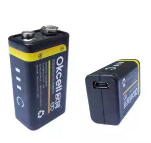 USB Rechargable Battery 9V OkCell 800mA Capacity