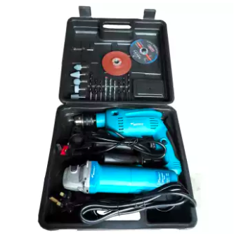 Impact Drill & Angle Grinder with Accessories Assortment Set Wately